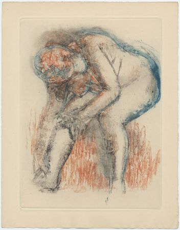 エッチングと アクチアント Degas - Étude de nu se massant la cheville (vers 1896)