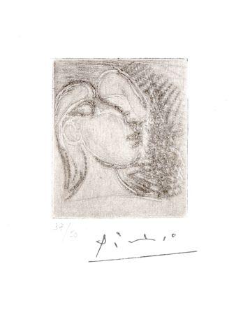 彫版 Picasso - ête de femme tournée à droite