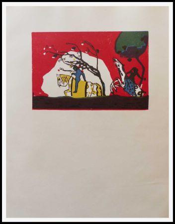 木版 Kandinsky - 2 CAVALIERS SUR FOND ROUGE