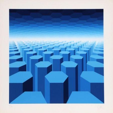 シルクスクリーン Yvaral - 50 Shades of Blue