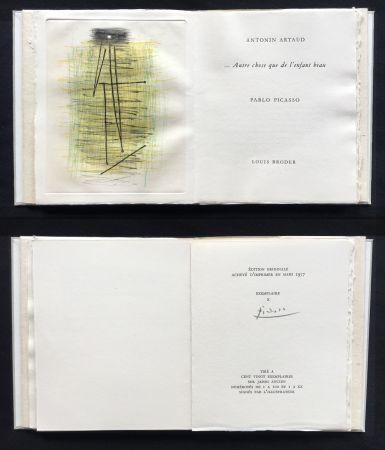 挿絵入り本 Picasso - A. Artaud: AUTRE CHOSE QUE DE L'ENFANT BEAU. Célèbre gravure originale en couleurs (1957).