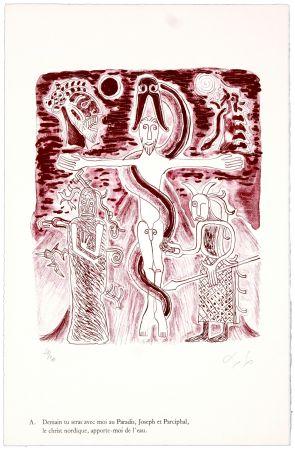 リトグラフ Nørgaard - A. Demain tu seras avec moi au Paradis, Joseph et Parciphal, le christ nordique, apporte-moi de l'eau