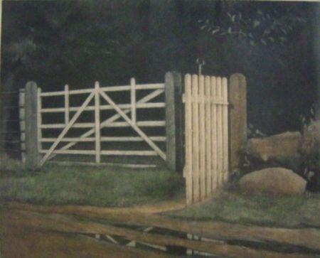 メゾチント彫法 Ilsted - A gate in the wood