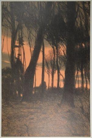 リトグラフ Kampmann - Abendröthe (Bäume im Abendrot)