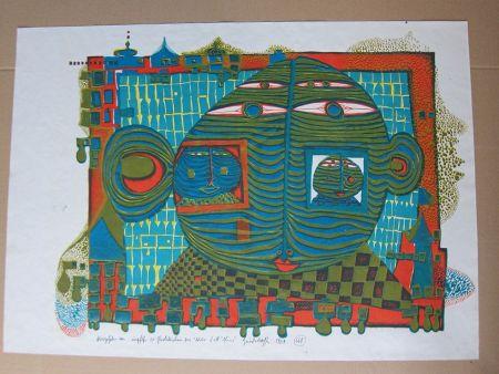 リトグラフ Hundertwasser - Abschied aus Afrika