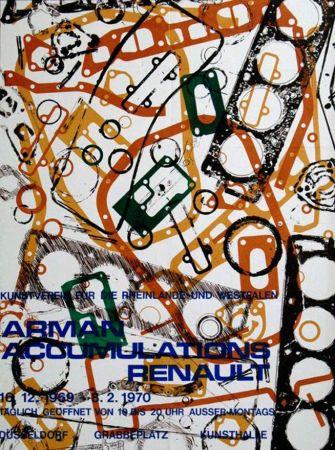 リトグラフ Arman - '' Accumulations Renault ''  -  Dusseldorf