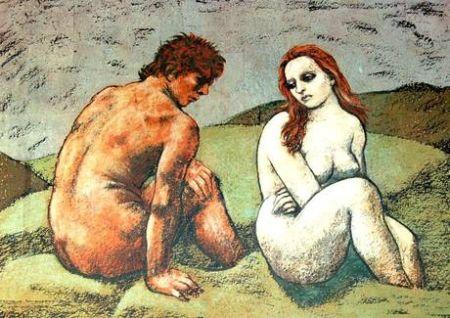 リトグラフ Messina - Adamo ed Eva