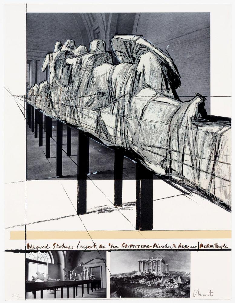 シルクスクリーン Christo - Aegena Temple Project for Munich Glyptotek