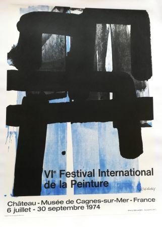 リトグラフ Soulages - Affiche expo 74