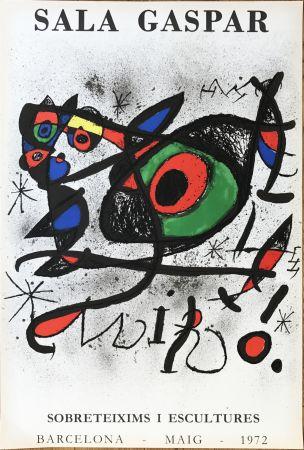"""リトグラフ Miró - Affiche pour l' exposition """"Sobreteixims i escultures"""". Sala Gaspar, Barcelona."""