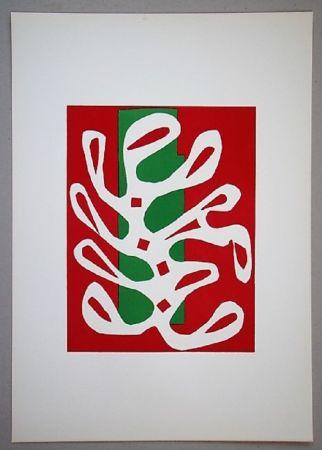 リトグラフ Matisse - Algue Sur Fond Rouge Et Vert