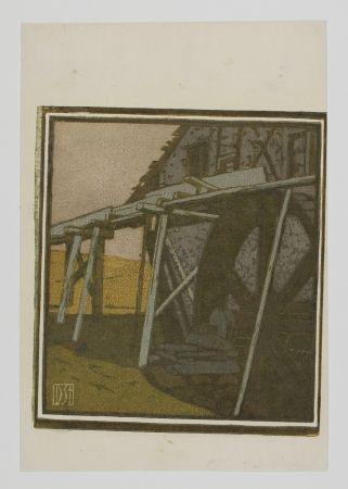 木版 Staschus - Alte Mühle (Old Mill)