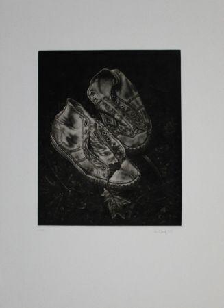メゾチント彫法 Ebert - Alte Turnschuhe