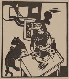 木版 Campendonk - Am Tisch sitzende Frau mit Katze und Fisch / Woman Sitting at Table with Cat and FIsh