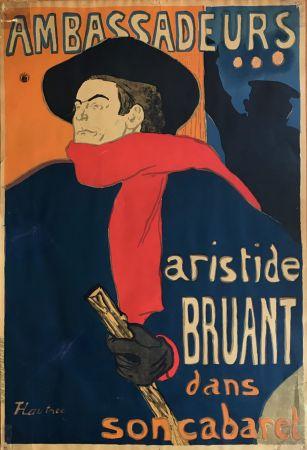 リトグラフ Toulouse-Lautrec - Ambassadeurs - Aristide Bruant dans son cabaret (création 1892)