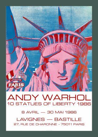 リトグラフ Warhol - Andy Warhol '10 Statues Of Liberty' 1986 Original Pop Art Poste