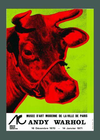 リトグラフ Warhol - Andy Warhol 'Cow Wallpaper (Green)' 1970 Hand Signed Original Pop Art Poster with COA