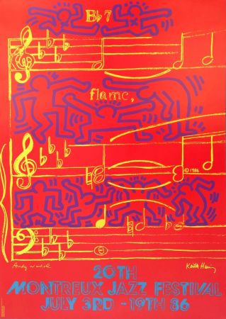 リトグラフ Warhol - Andy Warhol & Keith Haring '20th Montreux Jazz Festival' 1986 Plate Signed Original Pop Art Poster