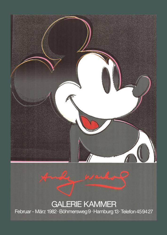 リトグラフ Warhol - Andy Warhol 'Mickey' 1982 Plate Signed Original Pop Art Poster with COA