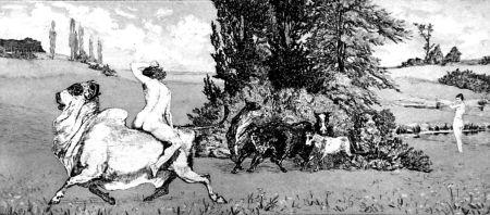 エッチングと アクチアント Klinger - Apollo e Dafne III