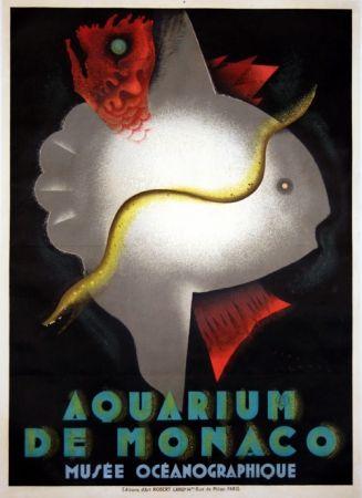 リトグラフ Carlu - Aquarium de Monaco