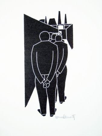 リノリウム彫版 Schmitz - Arbeitergang (Going to Work)