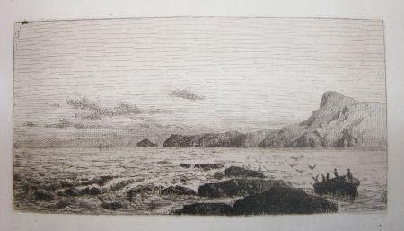 エッチングと アクチアント De Haes - Arrecifes (Marina: Roca, gaviotas)