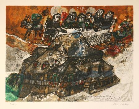リトグラフ Tobiasse - Assemblee des Rabbins et Notables au lgime dans un village de Lithuanie