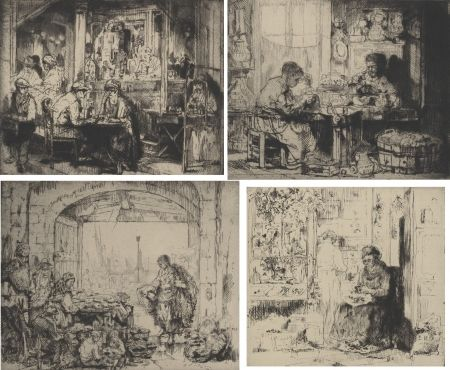 彫版 Brouet - (Assorted Occupations:  A Collection Of Ten Original Etchings)