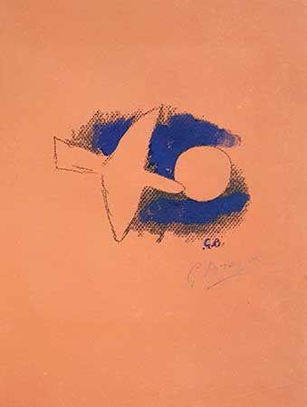 リトグラフ Braque - Astre et oiseau