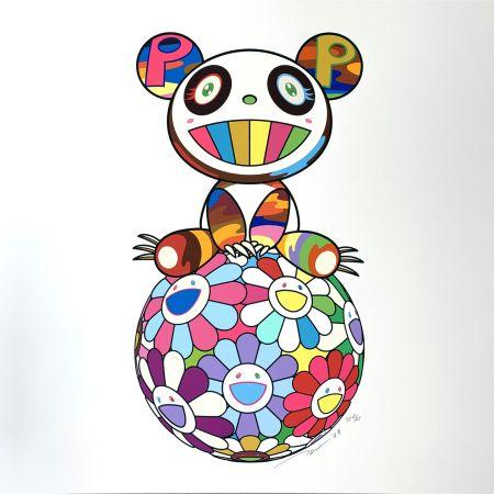 シルクスクリーン Murakami - Atop a Ball of Flowers, A Panda Cub Sits Properly