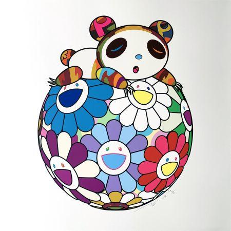 シルクスクリーン Murakami - Atop a Ball of Flowers, A Panda Cub Sleeps