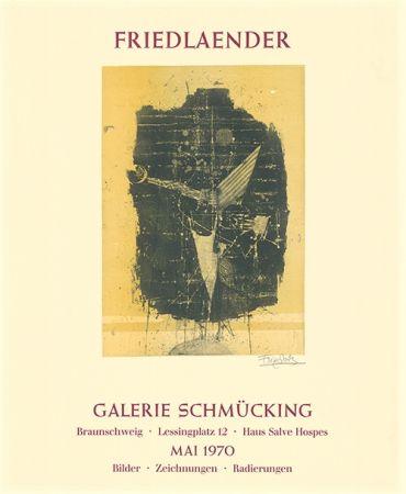 エッチングと アクチアント Friedlaender - Ausstellungsplakat Galerie Schmücking, Braunschweig, 1970