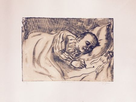 リトグラフ Topor - Autoportrait