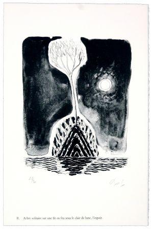 リトグラフ Nørgaard - B. Abre solitaire sur une ile sous le clair de lune, l'espoir