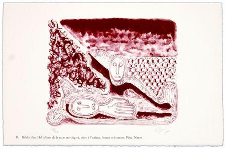 リトグラフ Nørgaard - B. Balder chez Hel (déesse de la mort nordique), mère de l'enfant, femme et homme, Piéta, Naxos