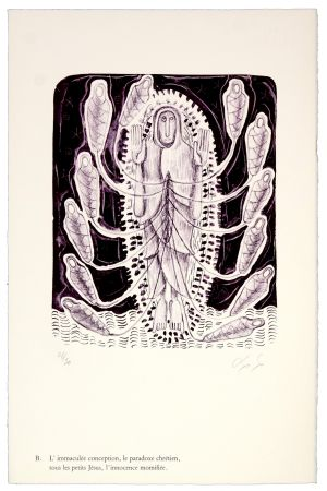 リトグラフ Nørgaard - B. L'immaculée conception, la paradoxe chrétien, tous les petits Jésus, l'innocence momifiée