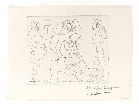 彫版 Picasso - Bacchanal with Owl and Young Man in a Mask