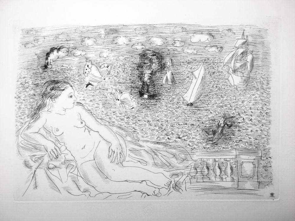 エッチング Dufy - BALCON SUR LA MER (Baigneuse aux Papillons). 1925