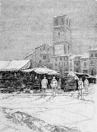 エッチング Cotugno  - Bancarelle al mercato a Lodi