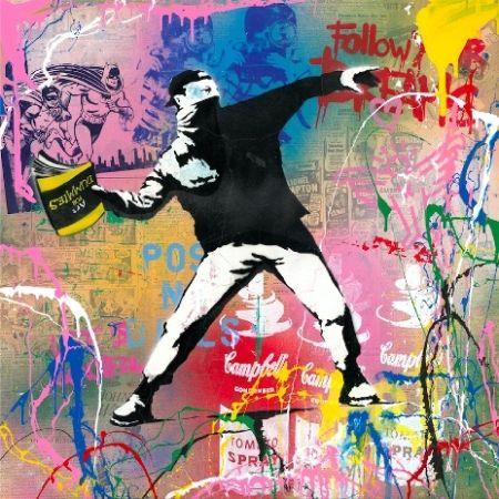 シルクスクリーン Mr Brainwash - Banksy Thrower, 2015
