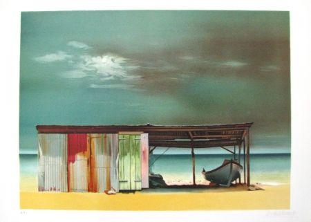 リトグラフ Battut - Baraque sur la plage