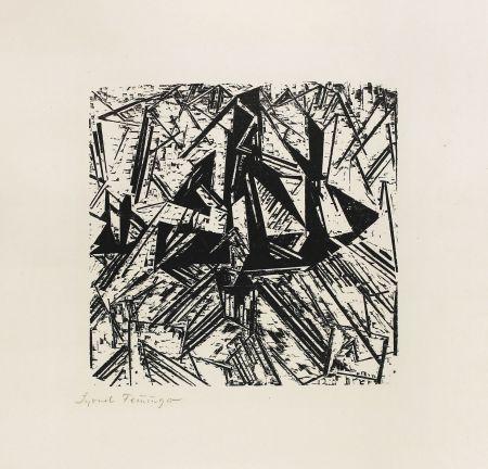 木版 Feininger - Barke und Brigg auf See (Segler)