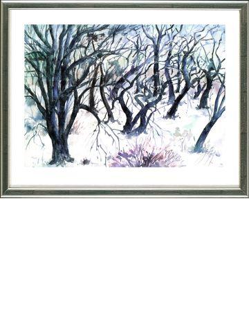 リトグラフ Grass - Baumlandschaft  Winter