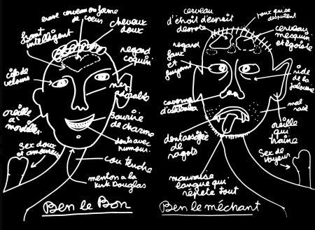 シルクスクリーン Vautier - '' Ben Le Bon, Ben le Méchant ''