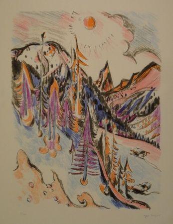 リトグラフ Wiegers  - Berglandschaft bei Davos mit Tinzenhorn