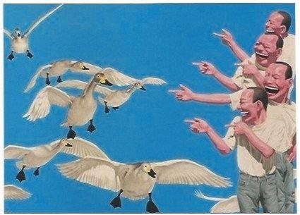 シルクスクリーン Minjun - Big swans