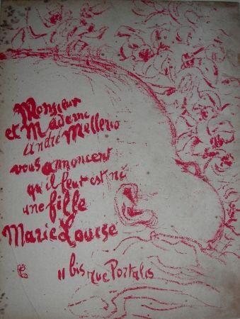 リトグラフ Bonnard -  Billet de naissance de Marie Louise Mellerio