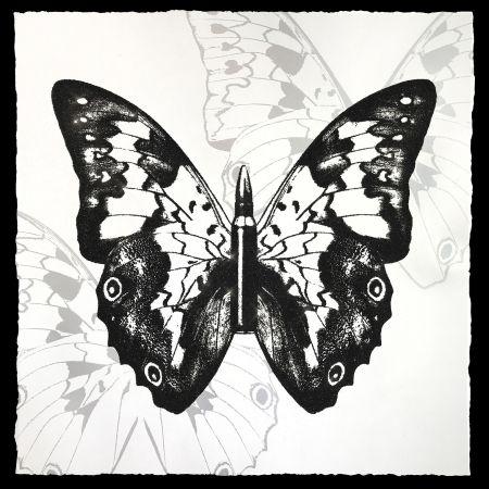 シルクスクリーン Robierb - Black Butterfly on White