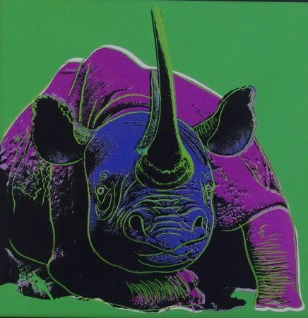 シルクスクリーン Warhol - Black rhinoceros